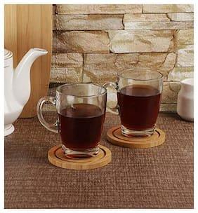 Incrizma Classic Glass Coffee Tea Mug - 320 ml;Solid Glass Tea Cup;Tea Mugs with Handle;Set of 2