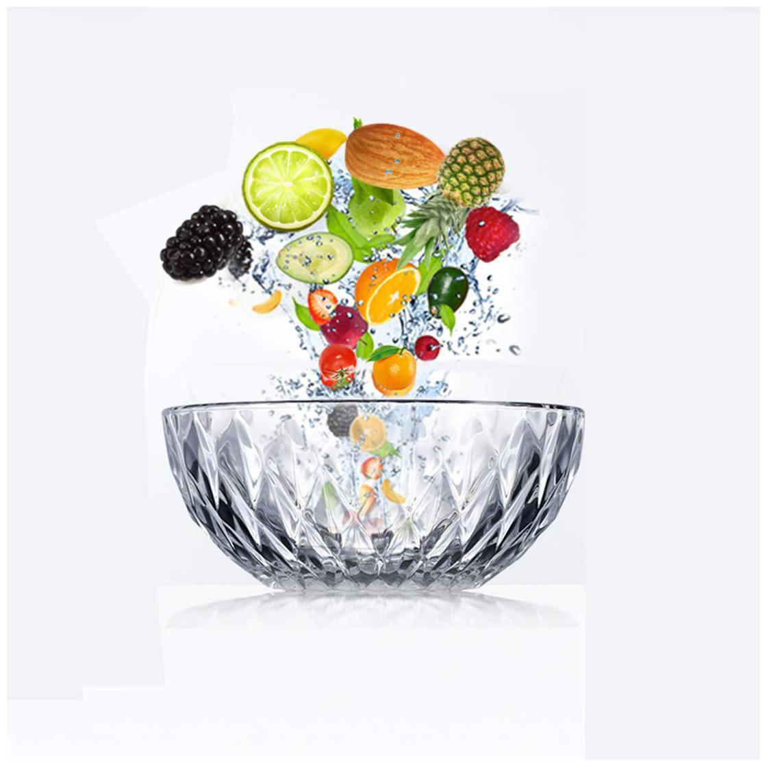 Incrizma Glass Bowl Fruit/Salad/Dessert/Noodle Bowl Set 1600 ml   Set of 2