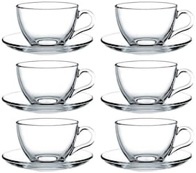 Incrizma Glass Tea Cup And Saucer - 12 Pieces;Clear;220 ml
