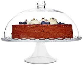 Incrizma Glassware - Imported Footed Service Cake Plate with Dome/Cake Stand/Punch Bowl (Set- Cake Stand with Dome)