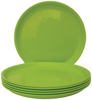 Incrizma Polypropylene Green Round Plates - Set Of 6