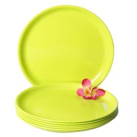 Incrizma Polypropylene Microwave Safe Break Resistant Dinner Plates, 6 Pieces, (Lime Green, Round)
