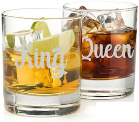 Incrizma Whisky Glass with Engraving  Classic Tumbler - Unique for Whisky Lovers Pack of 2 pcs (King and Queen)