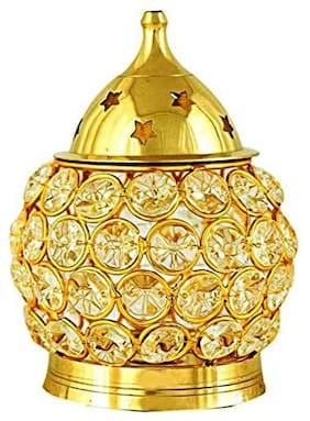 India Small matki crystal akhand diya Brass Table Diya (Height: 11.43 cm (4.5 inch)