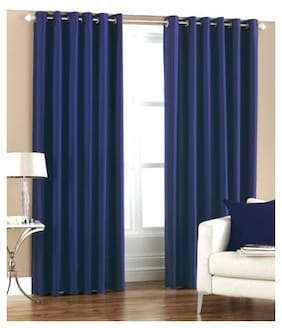 Indian Online Mall Polyester Window Blackout Blue Regular Curtain ( Eyelet Closure , Plain )