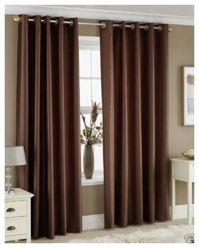 Indian Online Mall Polyester Window Blackout Brown Regular Curtain ( Eyelet Closure , Plain )