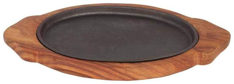 Indian Oval Brownie Sizzler Plate Wooden Base (15