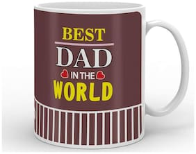 Indigifts Dad Birthday Gifts Best Dad in the World Unique Coffee Mug 330ml Brown Best Father-Papa-Birthday Gifts