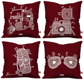 Indigifts Decor For Living Room Printed Maroon Cushion Cover 12X12 With Filler Set Of 4