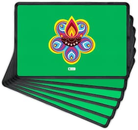 Indigifts Diwali Festival Gifts Green Table Mat 30.48 cm (12 inch) x 20.32 cm (8 inch) x 1 cm (0.39 inch) Set of 6