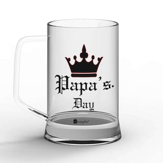 Indigifts Fathers Day Gifts Papas Quote Vintage Classic Design Clear Beer Mug 330 Ml