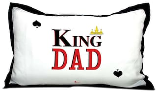 Indigifts Father Birthday Gifts King Dad Quote Daddys Crown White Pillow Cover 17x27