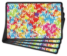 Indigifts Holi Special Colorful Splash with Leaf Pattern Multi 30.48 cm (12 inch) x 45.72 cm (18 inch) x 1 cm (0.39 inch) Table Mat Set of 4 Gift for Family Friends Holi Gifts Holi Items