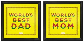 Indigifts Parents Special World's Best Mom & Dad Beautiful Paisley Border Print Yellow Poster Frame 8x8 Set of 2 - Gift for Parents Mom-Dad