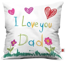 Indigifts Papa Gift Anniversary Love You Dad Quote Fatherly Things Blue Cushion Cover 30.48 cm (12 Inch) x 30.48 cm (12 Inch) x 10.16 cm (4 inch) with Filler - Dad-Papa-Birthday Gifts Parents Gifts