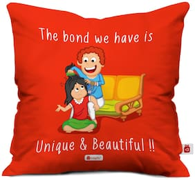 Indigifts Brother Birthday Gift Red 45.72 cm (18 inch) x 45.72 cm (18 inch) x 1 cm (0.39 inch) inch Cushion Cover Set of 1