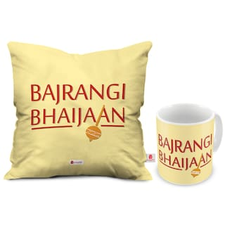 Indigifts Brother Birthday Gift Cream 330ml Coffee Mug 12x12 Inch Cushion Cover With Filler Set