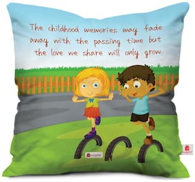 Indigifts Gift For Sibling Multi 45.72 cm (18 inch) x 45.72 cm (18 inch) x 1 cm (0.39 inch) inch Cushion Cover Set of 1