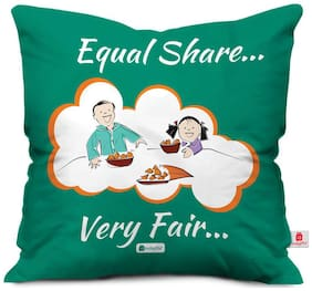 Indigifts Brother Birthday Gift Green 30.48 cm (12 Inch) x 30.48 cm (12 Inch) x 10.16 cm (4 inch) Cushion Cover With Filler Set of 1