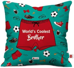 Indigifts Gift For Brother Green 40.64 cm (16 inch) x 40.64 cm (16 inch) x 1 cm (0.39 inch) inch Cushion Cover Set of 1