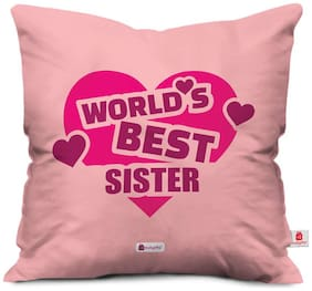 Indigifts Gift For Sister Light Pink 30.48 cm (12 Inch) x 30.48 cm (12 Inch) x 10.16 cm (4 inch) Cushion Cover With Filler Set of 1