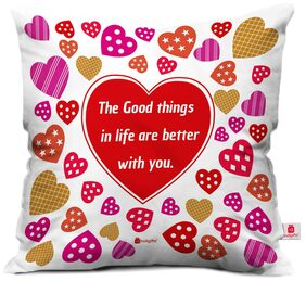 Indigifts Valentine Day Gift Love Quote Colorful Textured Hearts Pattern White Cushion Cover 30.48 cm (12 Inch) x 30.48 cm (12 Inch) x 10.16 cm (4 inch) With Filler Gift for Boyfriend Girlfriend