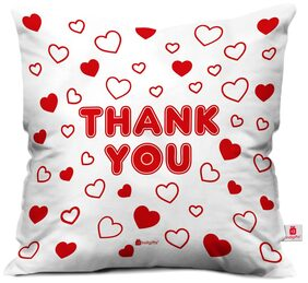 Indigifts Valentine Day Gift Thank You Quote Love Hearts Pattern White Cushion Cover 30.48 cm (12 Inch) x 30.48 cm (12 Inch) x 10.16 cm (4 inch) With Filler Gift for Boyfriend Girlfriend