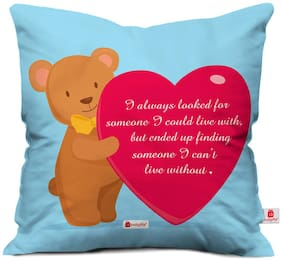 Indigifts Valentine's Day Gift I Can't Live Without You Quote Cute Teddy Holding Heart Blue Cushion Cover 40.64 cm (16 inch) x 40.64 cm (16 inch) x 1 cm (0.39 inch) - Gift for Boyfriend Husband Him