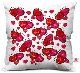 Indigifts Valentine Day Gift In Love With You Quote Connecting Love Hearts White Cushion Cover 30.48 cm (12 Inch) x 30.48 cm (12 Inch) x 10.16 cm (4 inch) With Filler Gift for Boyfriend Girlfriend