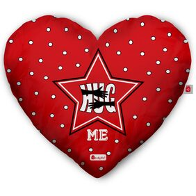 Indigifts Valentine Day Hug Me Quote Gesture of Hug Red Heart Shape Cushion 40.64 cm (16 Inch) x 45.72 cm (18 Inch) x 10.16 cm (4 inch) with Filler Gift for Boyfriend Girlfriend Romantic Love Gifts