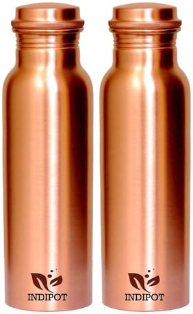 INDIPOT 1000 ml Copper Copper Water Bottles - Set of 2