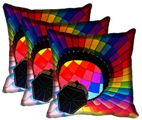 IndiWeaves Micro Polyester Digital Printed Cushion Cover (Pack of 3 Cushion Cover)(Size: 12x12 inch)