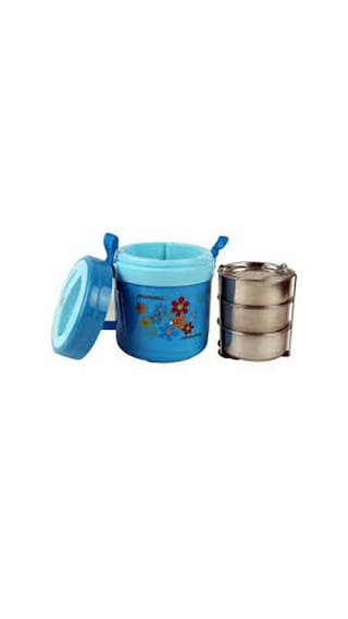 Indo 3 Containers Stainless steel Lunch Box - Assorted