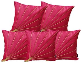 IndoAmor Dupion Silk Cushion Covers (Pack of 5)
