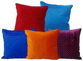 Indoamor Embossed Velvet Cushion Cover (Set Of 5)