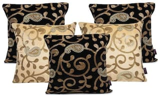 indoAmor Paisley Sequine Embroided Velvet Cushion Covers (Beige;Black 16x16 inch)- Set of 5 Covers