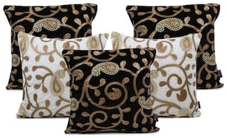 indoAmor Paisley Sequine Embroided Velvet Cushion Covers (Black-White 16x16 inch)- Set of 5 Covers