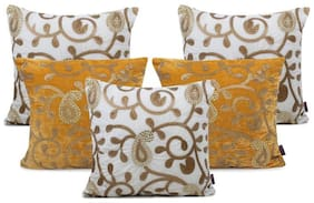 indoAmor Paisley Sequine Embroided Velvet Cushion Covers (White-Yellow16x16 inch)- Set of 5 Covers