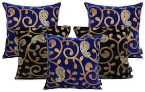 indoAmor Paisley Sequine Embroided Velvet Cushion Covers (Blue-Black 16x16 inch)- Set of 5 Covers