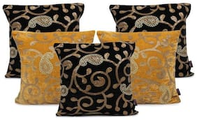 indoAmor Paisley Sequine Embroided Velvet Cushion Covers (Black-Yellow16x16 inch)- Set of 5 Covers