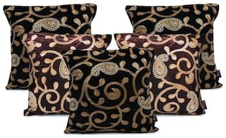 indoAmor Paisley Sequine Embroided Velvet Cushion Covers (Black-Brown 16x16 inch)- Set of 5 Covers