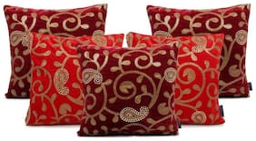 indoAmor Paisley Sequine Embroided Velvet Cushion Covers (Maroon-Red 16x16 inch)- Set of 5 Covers