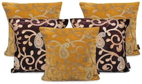 indoAmor Paisley Sequine Embroided Velvet Cushion Covers (Yellow-Brown 16x16 inch)- Set of 5 Covers