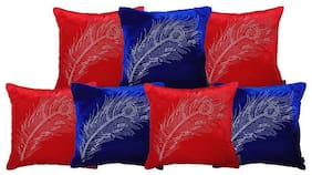 indoAmor Peacock Feather Velvet and Lycra Cushion Covers (r 16x16 inch;Set of 7 Covers)