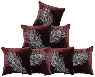 indoAmor Peacock Feather Velvet and Lycra Cushion Covers (Brown;16x16 inch;Set of 7 Covers)
