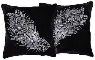 indoAmor Peacock Feather Velvet and Lycra Cushion Covers (Black;16x16 inch;Set of 2 Covers)