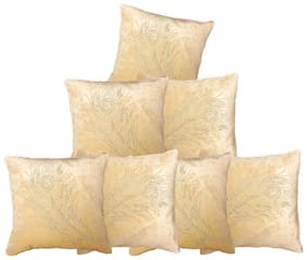 indoAmor Peacock Feather Velvet and Lycra Cushion Covers (Cream;16x16 inch;Set of 7 Covers)