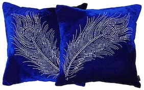 indoAmor Peacock Feather Velvet and Lycra Cushion Covers (Blue;16x16 inch;Set of 2 Covers)