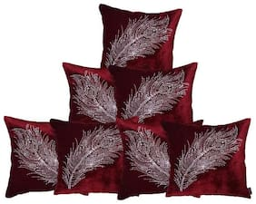 indoAmor Peacock Feather Velvet and Lycra Cushion Covers (Maroon;16x16 inch;Set of 7 Covers)