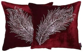 indoAmor Peacock Feather Velvet and Lycra Cushion Covers (Maroon;16x16 inch;Set of 2 Covers)